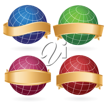 Royalty Free Clipart Image of a Set of Globes and Golden Ribbons