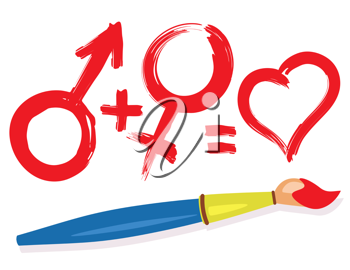 Female, male, heart symbols and paintbrush. Abstract love concept illustration.