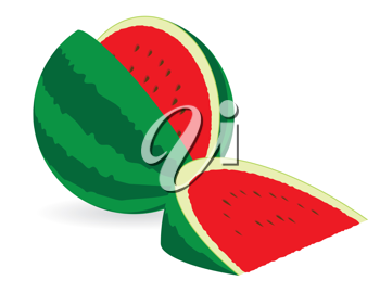 Fresh Watermelon cut isolated on white