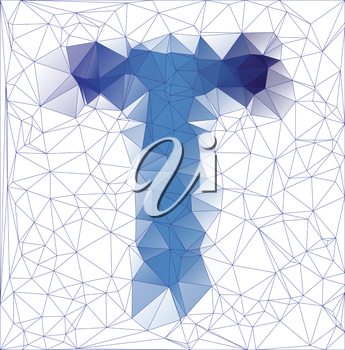 Abstract Frozen letter T low poly design gradient EPS10 vector illustration.