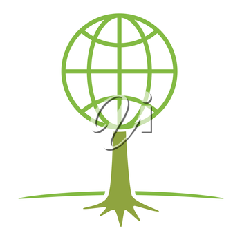 earth globe as tree ecology nature protection concept vector illustration