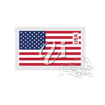 us flag old postage stamp isolated on white vector illustration