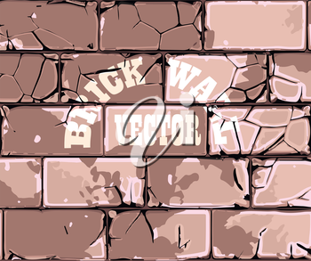 cracked old brick wall retro vector background
