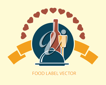 food label with wine bottle, glass and dish abstract vector illustration