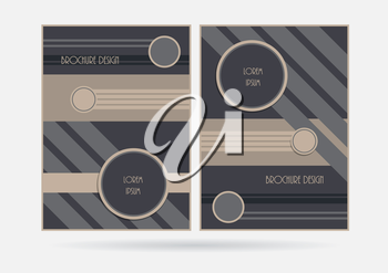 Brochure booklet cover template. Geometric lines circles design business report layout. Vector illustration.