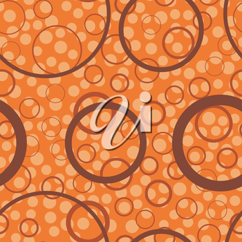 Circles seamless pattern. Abstract orange background. Vector illustration. Decorative dots template.