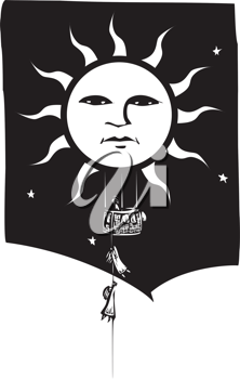 Royalty Free Clipart Image of People Climbing into a Sun Hot Air Balloon