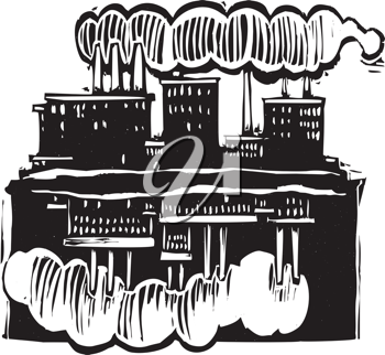 Royalty Free Clipart Image of Two Factories