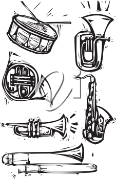 Royalty Free Clipart Image of Brass Instruments