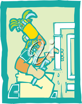 Royalty Free Clipart Image of a Mayan Temple Plumber