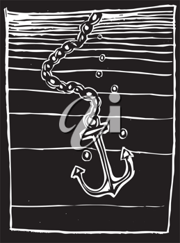 Royalty Free Clipart Image of an Anchor Being Dropped