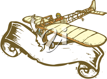 Royalty Free Clipart Image of a Bleriot Airplane in Flight With Banner