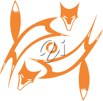 Royalty Free Clipart Image of Two Foxes