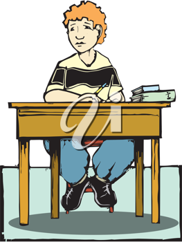 Royalty Free Clipart Image of a Boy Sitting at a Desk