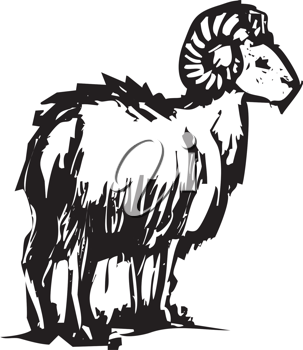 Royalty Free Clipart Image of a Mountain Goat