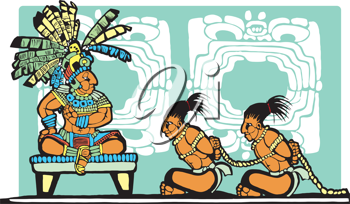 Royalty Free Clipart Image of a Mayan King Watching Prisoners