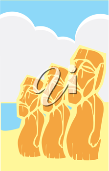 Royalty Free Clipart Image of a Group of Mixed Styled Easter Island Moai Heads