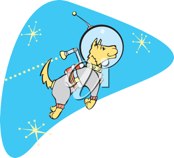 Royalty Free Clipart Image of a Dog Wearing a Jet Pack in Space