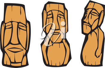 Royalty Free Clipart Image of a Group of Easter Island Moai Heads