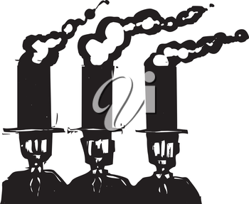 Woodcut style expressionist image of three business men in top hats that are smoke stacks.