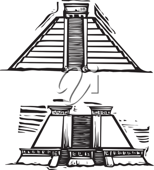 Woodcut style image of the Mayan Pyramids at El Tajin and Chichen Itza in Mexico.