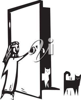 Royalty Free Clipart Image of a Girl Opening a Door for Cats
