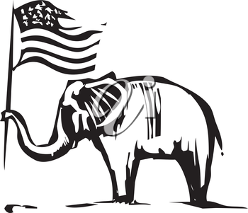Woodcut Style image of an Elephant waving an American flag