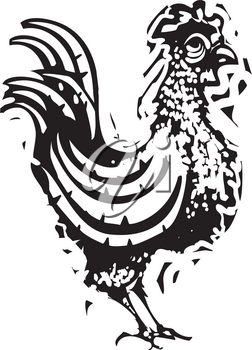 Woodcut Rooster walking around the chicken farm