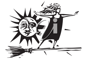 Woodcut style expressionistic witch on a broom with he sun and moon