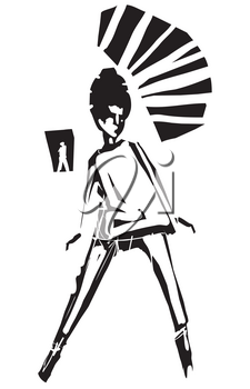 Woodcut style expressionist image of a sixties Mod girl with a beehive hairdo dancing