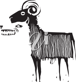 Woodcut expressionistic style image of a wolf in sheep's clothing. Wolf in ram's skin.