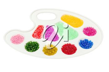 Royalty Free Photo of a Palette With Beads
