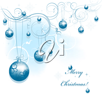 Royalty Free Clipart Image of Some Christmas Ornaments Hanging