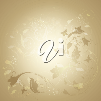 Floral Golden Background With Ornate And Butterflies