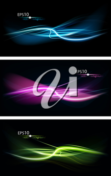 Set Of Abstract Design On A Black Background