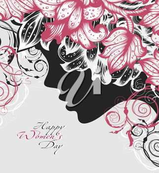 Silhouette of a woman decorated hand drawn flowers for Happy Womens Day