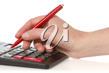 calculator and hand with pen on white background