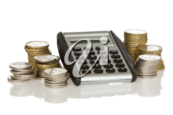 calculator and stack of coins with reflection on white background