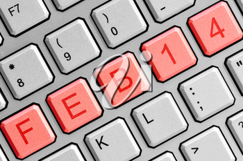 Date FEB 14  on the computer keyboard. Valentine's Day concept.