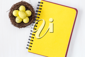 Nest with painted Easter Eggs and blank notebook for copy-space