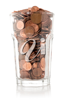Saving money, glass full of coins, isolated on white background