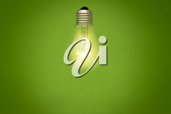 Light bulb glowing on green background. Eco energy concept.