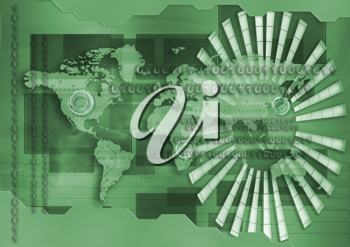 Royalty Free Clipart Image of a World Map and Binary Code