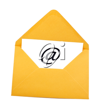 Email symbol in yellow envelope isolated on white