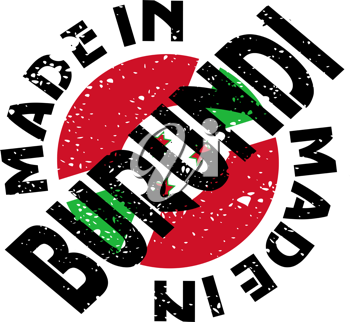 Royalty Free Clipart Image of a Label with Made in Burundi