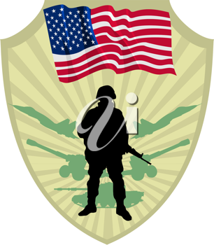Royalty Free Clipart Image of an American Crest with a Flag and Soldier