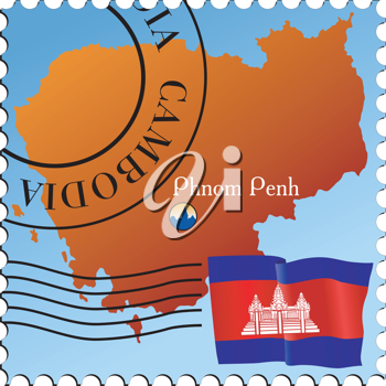 Vector stamp with an image of map of Cambodia