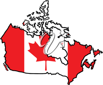 An illustration of map with flag of Canada
