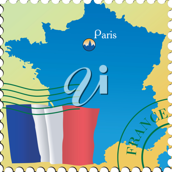 Vector stamp with an image of map of France
