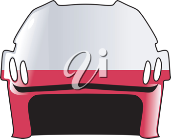 An image of hockey helmet in colours of Poland